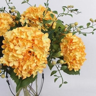 FloralGoods Silk Small Petal Hydrangea Stem in Yellow and Plum Fruit