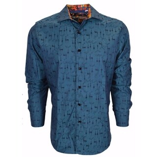 Robert Graham Teal Doe A Deer Christmas Pattern Sports Dress Shirt 4XL