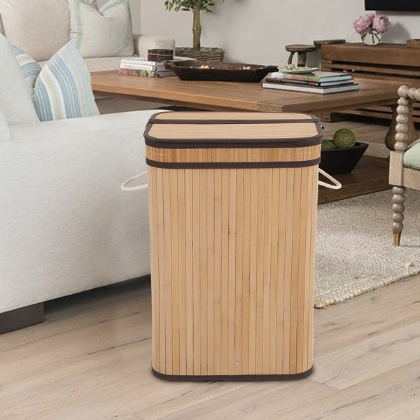 Sophia & William Laundry Hamper 72L Dirty Clothes Bamboo Storage Basket with Lid Liner and Handles Rectangular. Opens flyout.