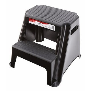 Rubbermaid 2-Step Plastic Step Stool, Black, 18.5x18.2x16 Inches