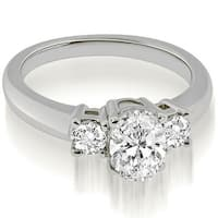 0.85 cttw. 14K White Gold Classic Basket 3 Stone Oval Diamond Engagement Ring