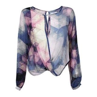 Bar III Women's Long Sleeve Kaleidoscope Print Top