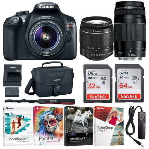 Canon EOS Rebel T6 DSLR Camera with 18-55mm and 75-300mm Lenses and 96GB Bundle