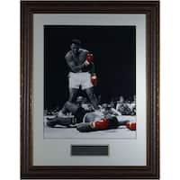 Muhammad Ali unsigned 16x20 BW Spotlight Photo Black Leather Framed over Sonny Liston Liston