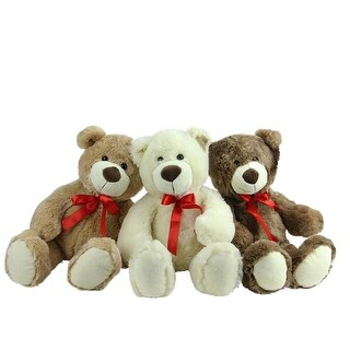 Set of 3 Brown, Tan & Cream Plush Childrens Teddy Bear Stuffed Animal Toys 20 - Brown
