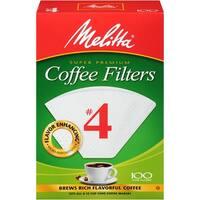 Melitta Super Premium #4 Cone Paper Coffee Filters White, 100 Count, 2 Pack