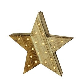 "15.5"" Luxury Lodge B/O LED Lighted Country Rustic Natural Wooden Star Christmas Decoration"