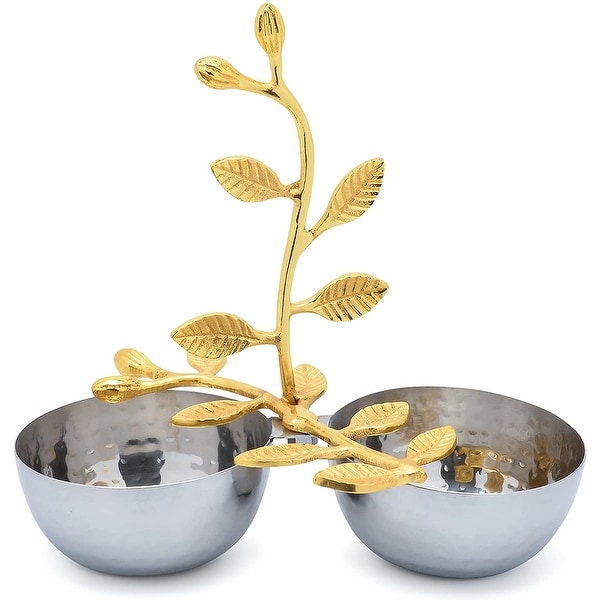 Cheer Collection Shiny Polished Stainless Steel Two Sectional Serving Bowl with Gold Leaf Handle. Opens flyout.