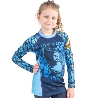 Fusion Fight Gear Kid's KFP Dragon Warrior Long Sleeve Rashguard - Blue - M