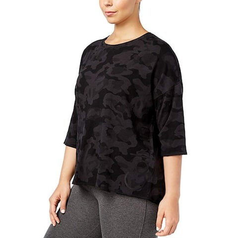 Calvin Klein Performance Women's Plus Camouflage Casual Top Black Size 3 Extra Large - XXX-Large