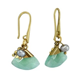 Link to Handmade Elegant Green Fan-Shaped Quartz and Freshwater Pearl Dangle Earrings (Thailand) Similar Items in Earrings