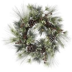 """- Frosted Mixed Pine Wreath W/Battery Operated Led Lights 26"""""""