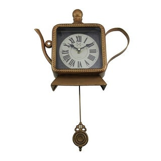 Tea Time Metallic Bronze Finish Teapot Pendulum Wall Clock