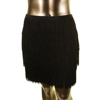 Lauren Ralph Lauren Womens Lined Fringe Straight Skirt