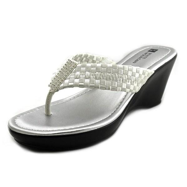White Mountain Wishlist Women Open Toe Canvas White Wedge Sandal