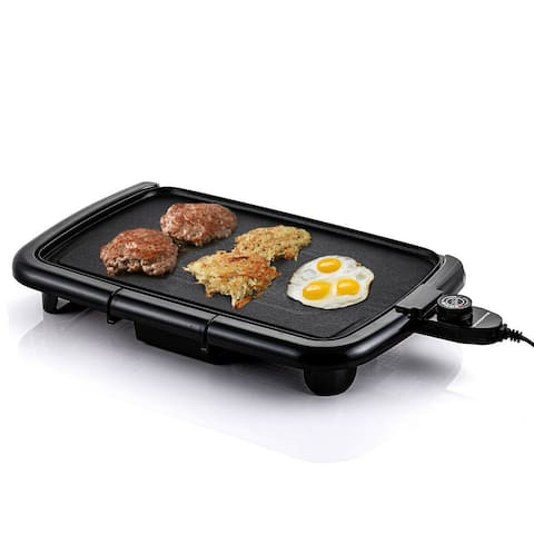Ovente Electric Indoor Kitchen Griddle 16 x 10 Inch Nonstick Flat Cast Iron Grilling Plate, Black GD1610B