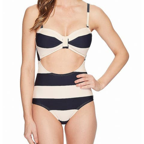 Unique Vintage Blue Beige Women Size Small S One-Piece Striped Swimwear