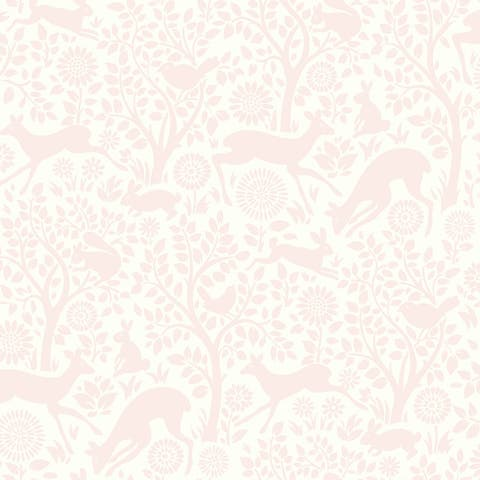 Anahi Light Pink Forest Fauna Wallpaper - 20.5in x 396in x 0.025in