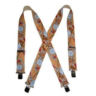 CTM® Men's Elastic Clip-End 2 Inch Carpenter Work Suspenders - Yellow - One Size
