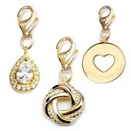 Julieta Jewelry Love Knot, Teardrop, Heart Disc 14k Gold Over Sterling Silver Clip-On Charm Set