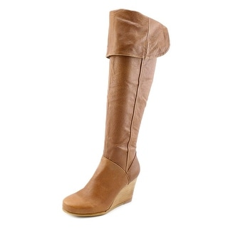Chinese Laundry Veracruz Women Round Toe Leather Brown Over the Knee Boot