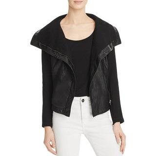 Blank NYC Womens Jacket Faux Leather Long Sleeves - s
