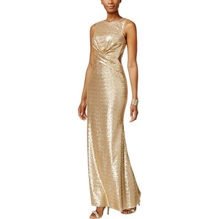 Betsy & Adam Womens Evening Dress Cut-Out Sequined