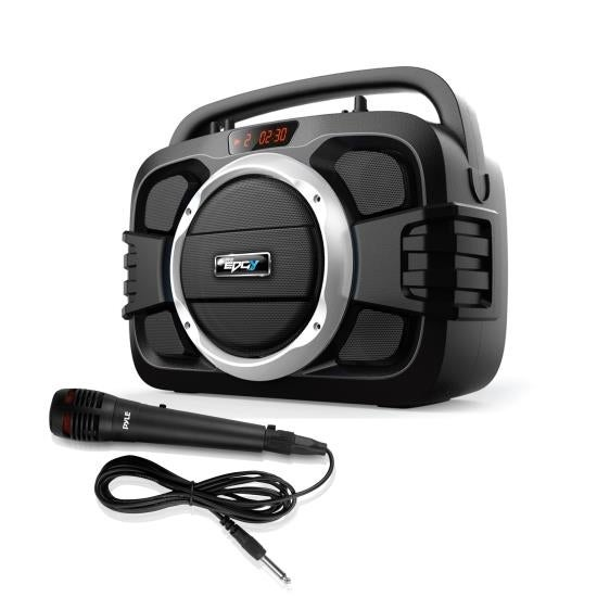Compact Bluetooth BoomBox Microphone & Speaker System, Built-in Rechargeable Battery, Recording Function, MP3/USB/FM Radio