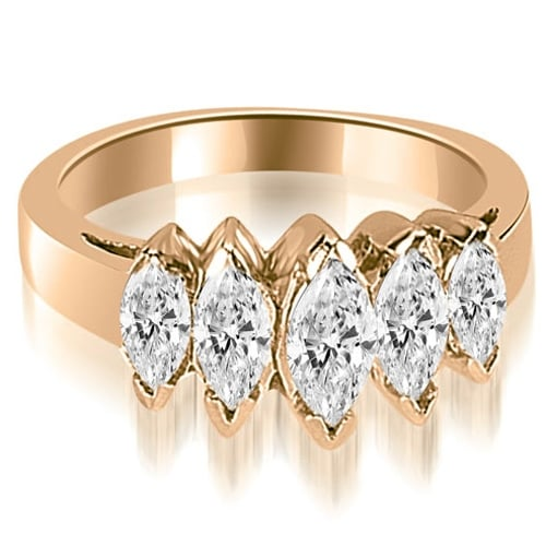 1.75 cttw. 14K Rose Gold Marquise Diamond 5-Stone Wedding Band