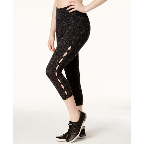 Calvin Klein Women's Perfomance High Rise Cutout Cropped Leggings Black Heather Size Extra Large - X-Large