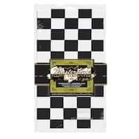 """Pack of 12 Black and White Checkered  Disposable Plastic Rectangular Decorative Table Covers 108"""""""