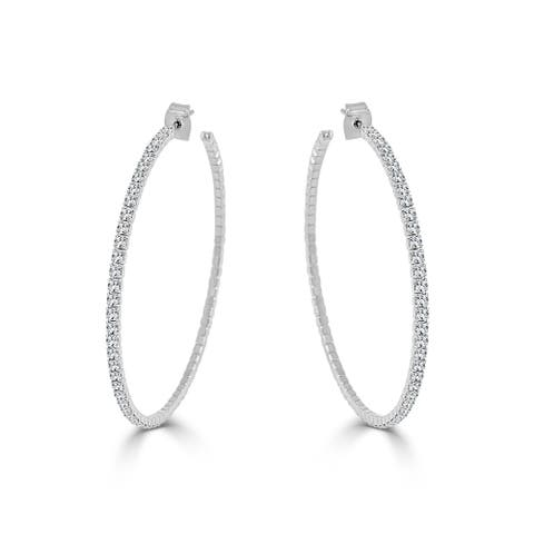 "Large Hoop Earrings Crystal Flexible Light Weight 2.25"" White Gold"