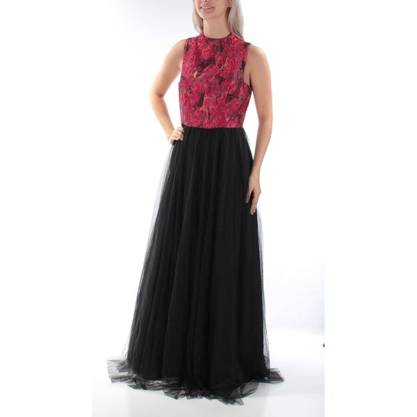 Shop Womens Black Floral Sleeveless Full Length Fit Flare Formal