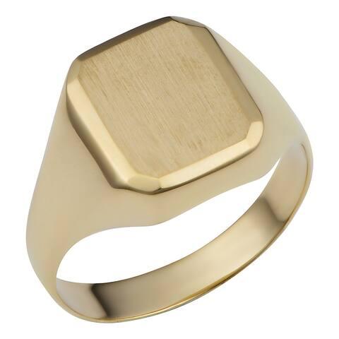 10k Yellow Gold Rectangular Signet Ring for Men and Women (size 7 - 10)