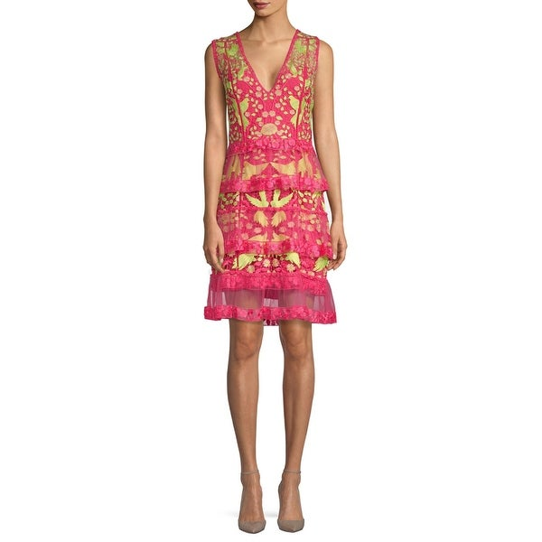f6155b82cf1 Marchesa Notte Tiered Floral Embroidered V-Neck Cocktail Dress Fuchsia - 12