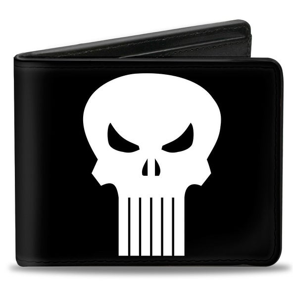Marvel Universe Punisher Logo Black White Bi Fold Wallet - One Size Fits most