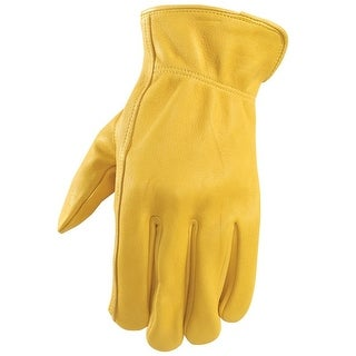 Wells Lamont 984L Men's Deerskin Leather Driver Gloves, Large, Yellow