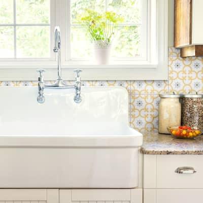 "SomerTile Daria Dandelion Encaustic 9.75"" x 9.75"" Porcelain Floor and Wall Tile"
