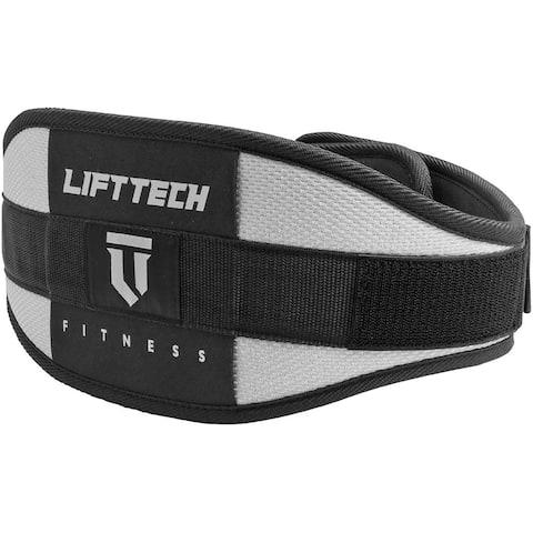 """Lift Tech Fitness 6"""" Comp Foam Weight Lifting Belt - Silver/Black"""