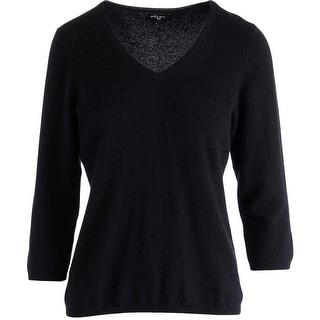 Colour Works Womens Cashmere Ribbed Trim V-Neck Sweater - M