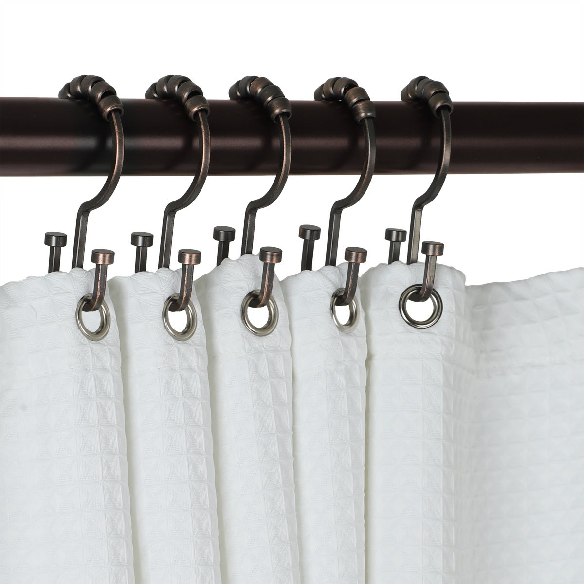 Utopia Alley Deco Flat Double Roller Shower Curtain Hooks, Oil Rubbed  Bronze   Oil Rubbed Bronze