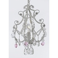 Wrought Iron & Crystal 1 Light Chandelier Pendant White with Pink Crystal Hearts Perfect for Kid's Rooms ! Hardwire and Plug In - Thumbnail 0