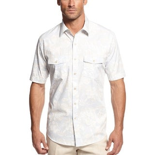 Tasso Elba Island Floral Print Short Sleeve Shirt Khaki Combo Large
