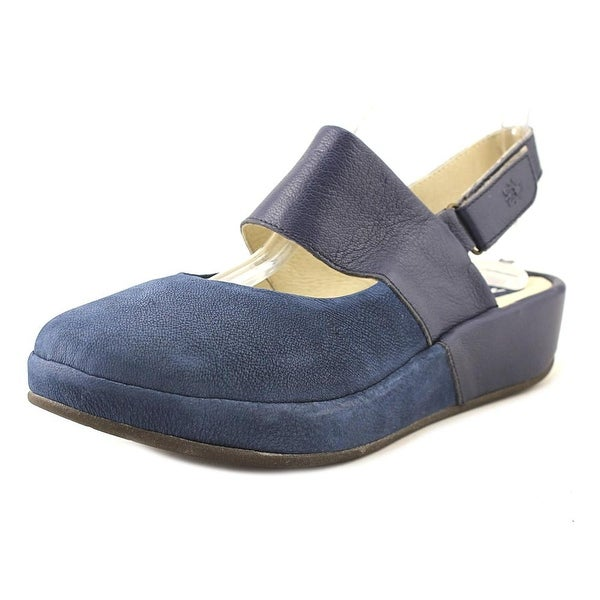 Fly London Baro725Fly Women Round Toe Leather Blue Slingback Sandal