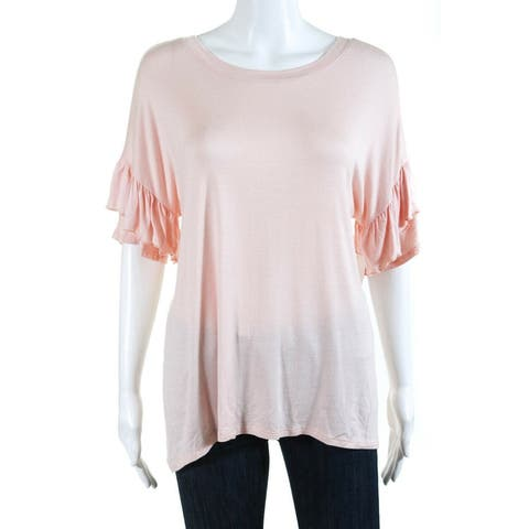 Chelsea28 Womens Ruffle Top Pink Size Small S Short Sleeve Scoop Neck