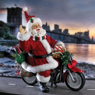 "10"" Fabriche ""Free Wheelin"" Motorcycle Santa Claus Christmas Table Top Figure"