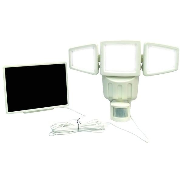 182 LED Triple-head Solar Motion Sensor Security Flood Light 1000Lumens-White