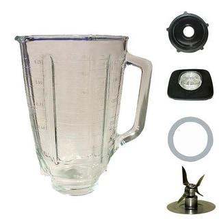 Blendin 5 Cup Square Top Glass Jar Assembly With Blade,Gasket,Base, and Lid. Fits Oster Blenders