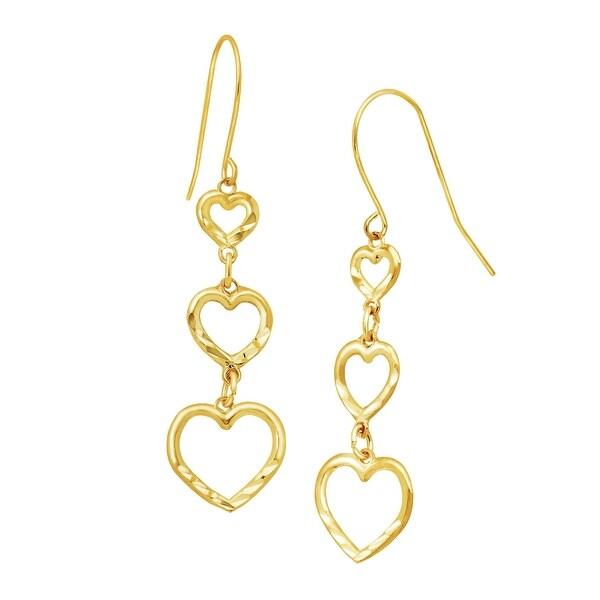 Eternity Gold Graduated Open Heart Drop Earrings in 10K Gold