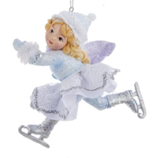 """3.75"""" Ice Palace Girl Ice Skater with Purple Scarf Decorative Christmas Ornament - BLue"""